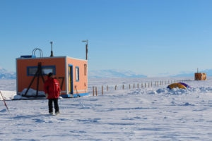 The fish hut where the mass spectrometer ran was located on the ice, 30 km from McMurdo Station.  (P. DeCarlo, all rights reserved)